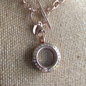 Origami Owl Mini Rose Gold Locket with Crystals